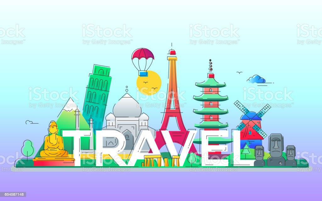 Travel - vector line travel illustration vector art illustration
