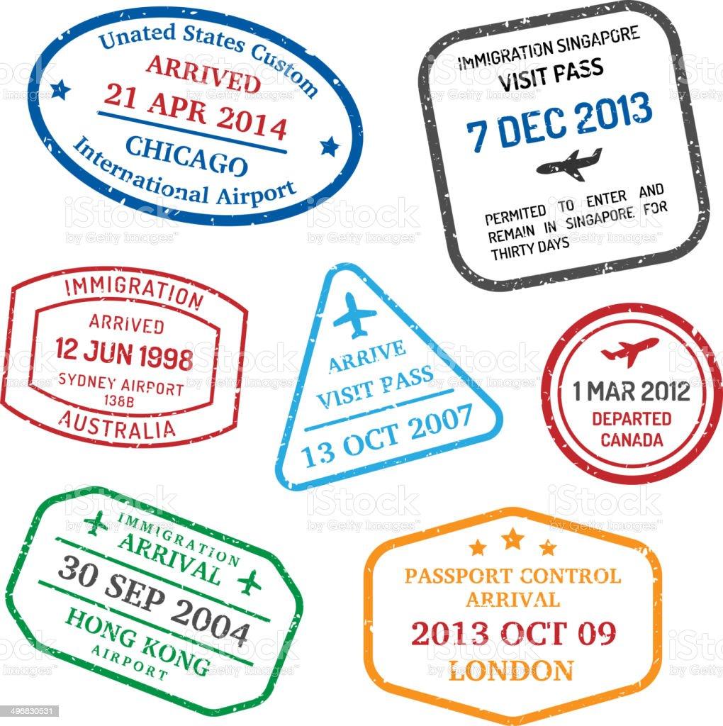 travel visa stamps vector art illustration