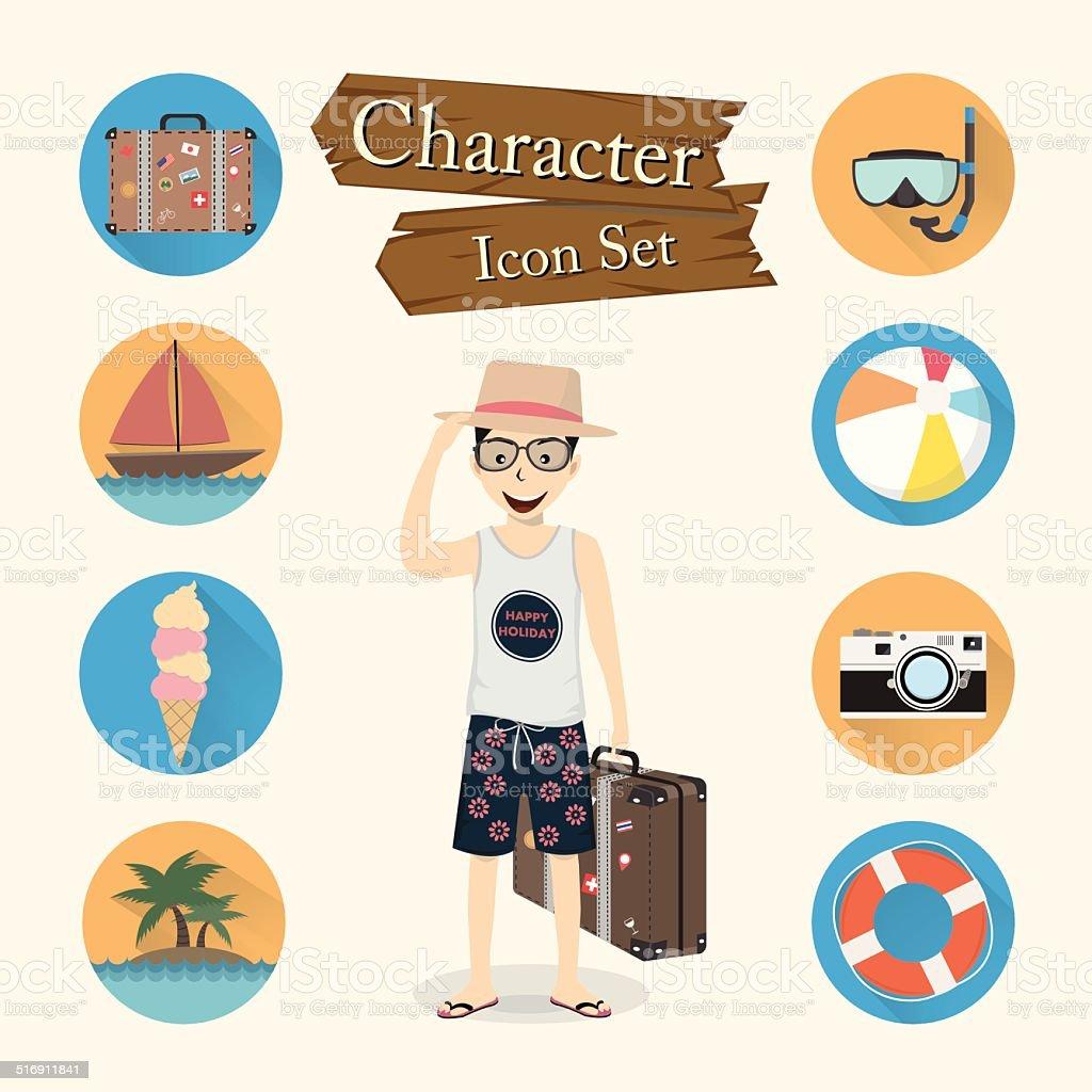 Traveler character Icon set vector vector art illustration