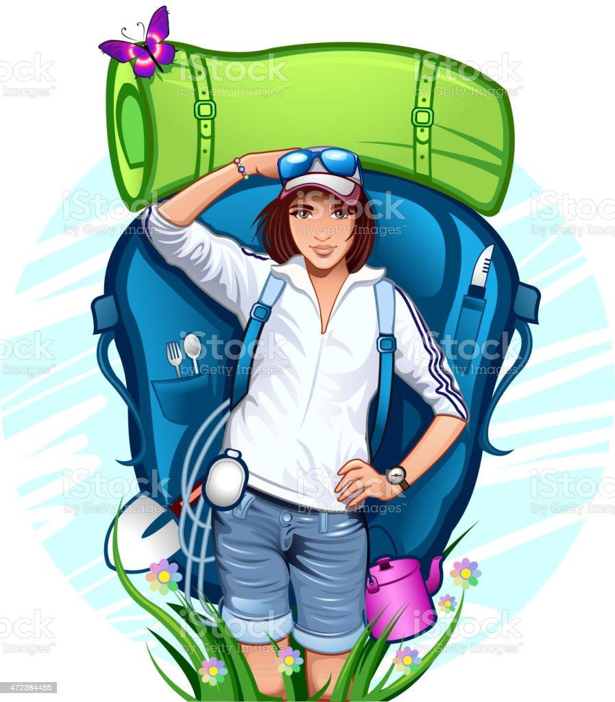 Traveler with a backpack vector art illustration