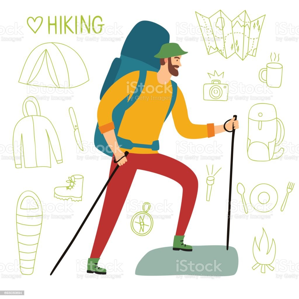 Traveler with a large backpack and trekking poles vector art illustration