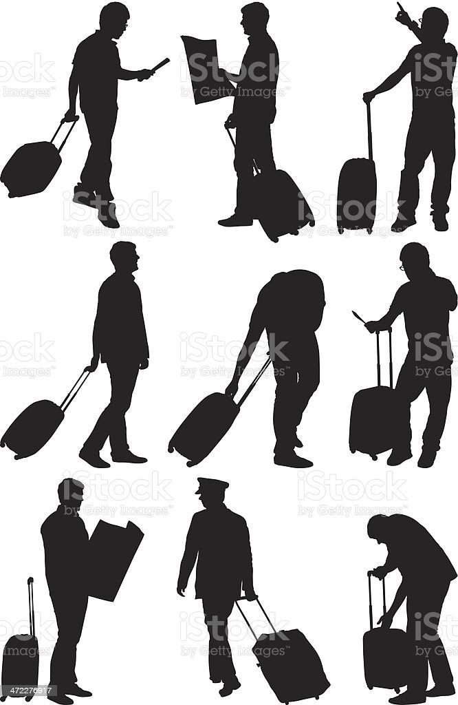 Travelers at the airport royalty-free stock vector art