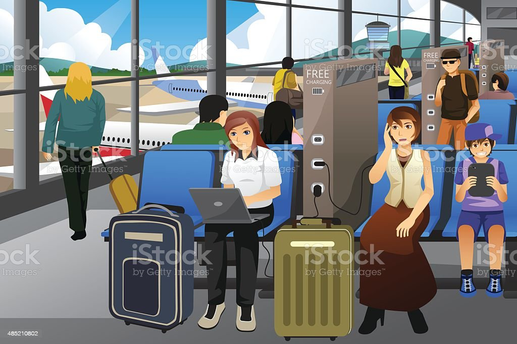 Travelers Charging Their Electronic Devices in an Airport vector art illustration