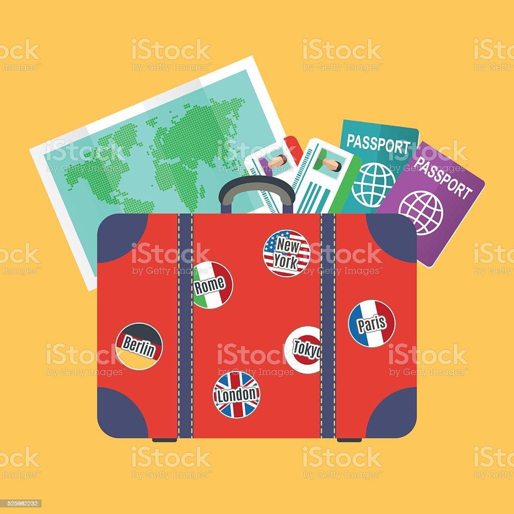 Traveler's suitcase, earth map, passports vector art illustration