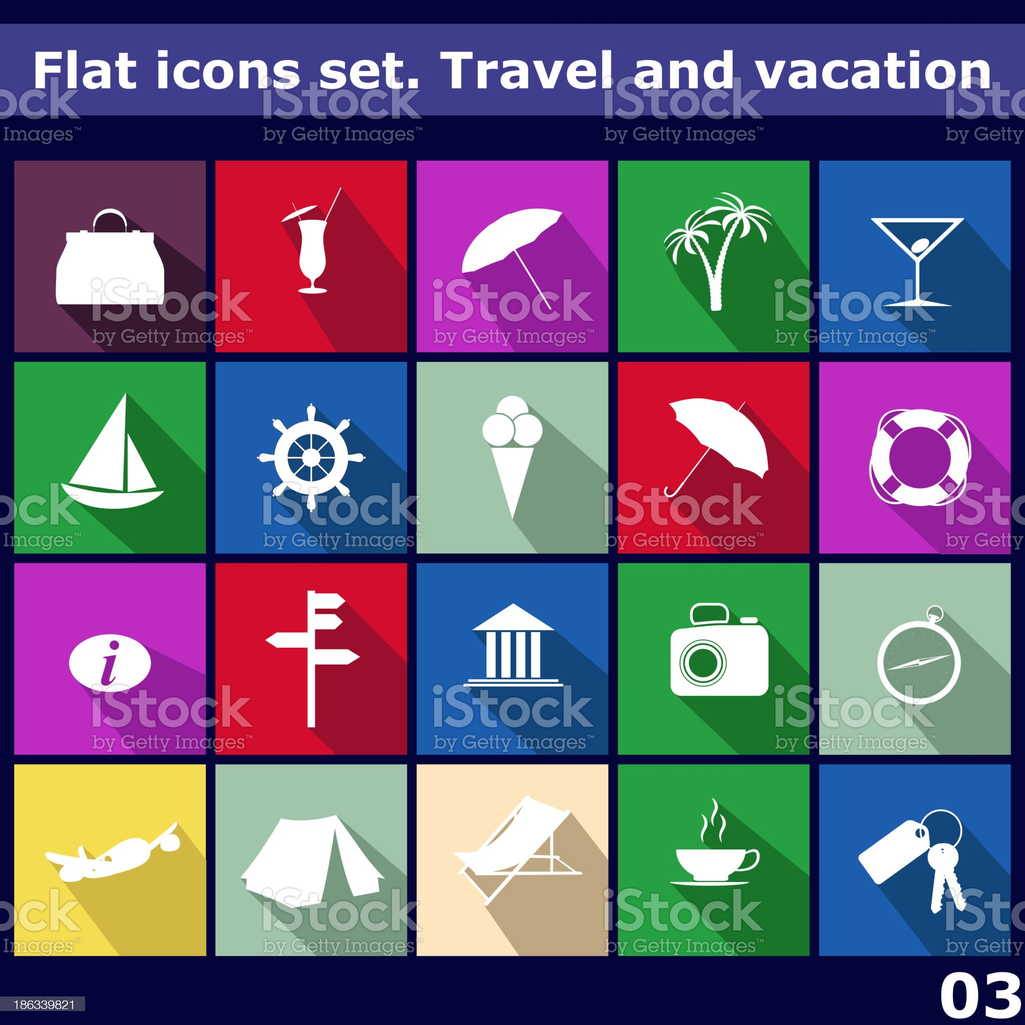 Traveling and vacarion Flat icons royalty-free stock vector art