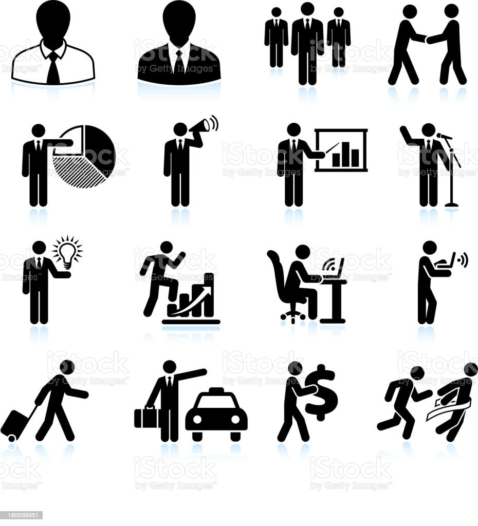 Traveling Businessman black and white royalty free vector icon set vector art illustration