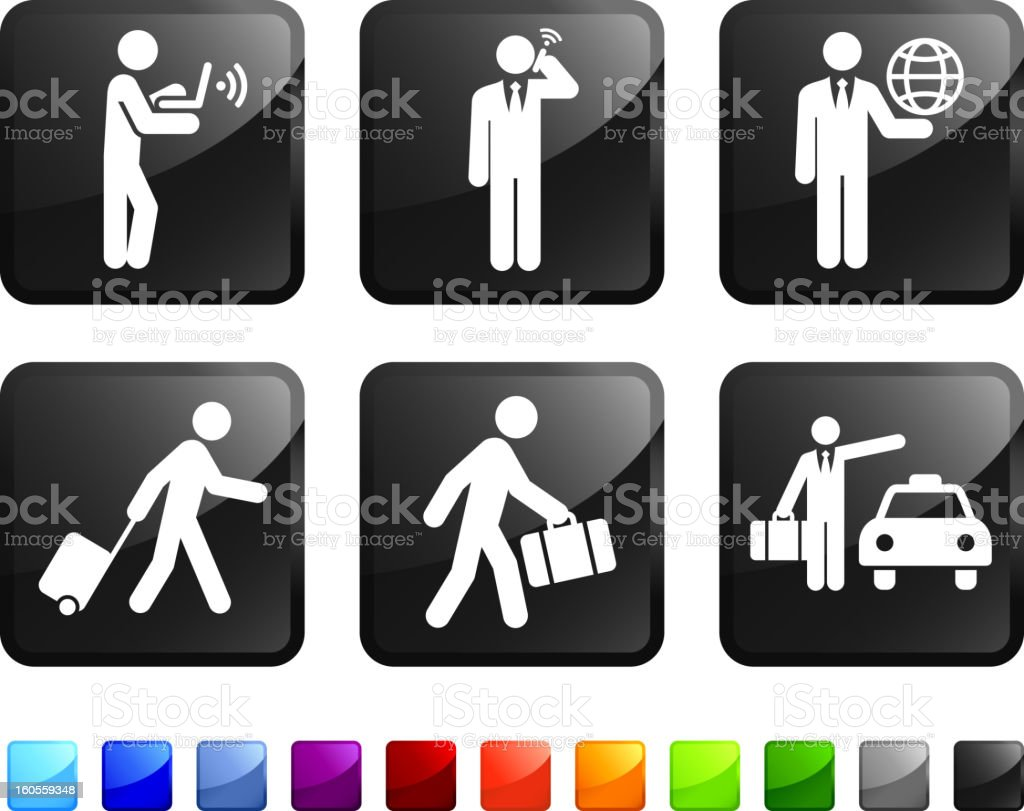 Traveling Businessman royalty free vector icon set stickers vector art illustration