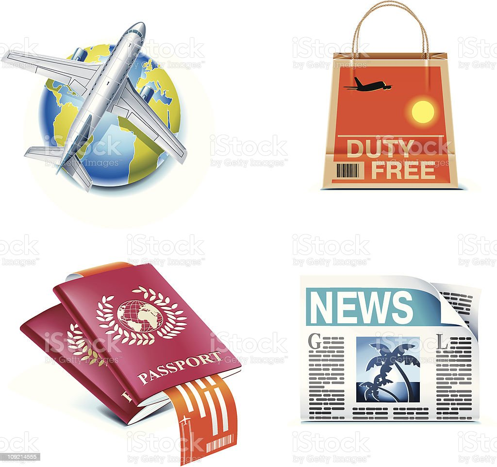 Traveling by air icons royalty-free stock vector art