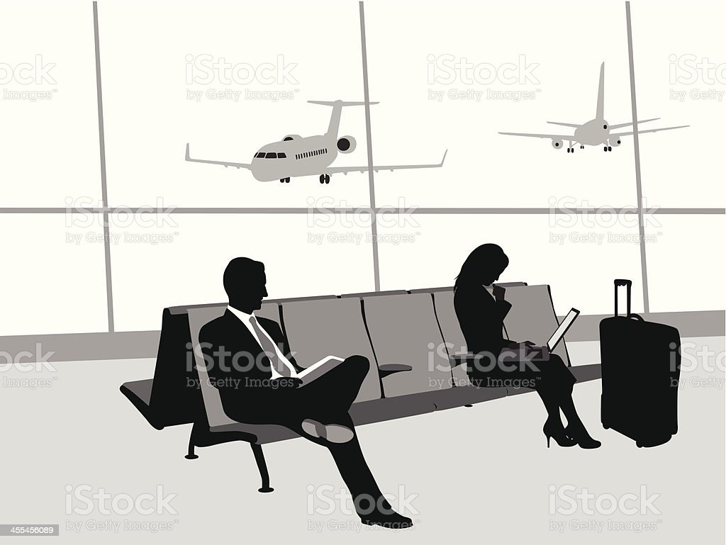 Traveling By Airplane Vector Silhouette vector art illustration