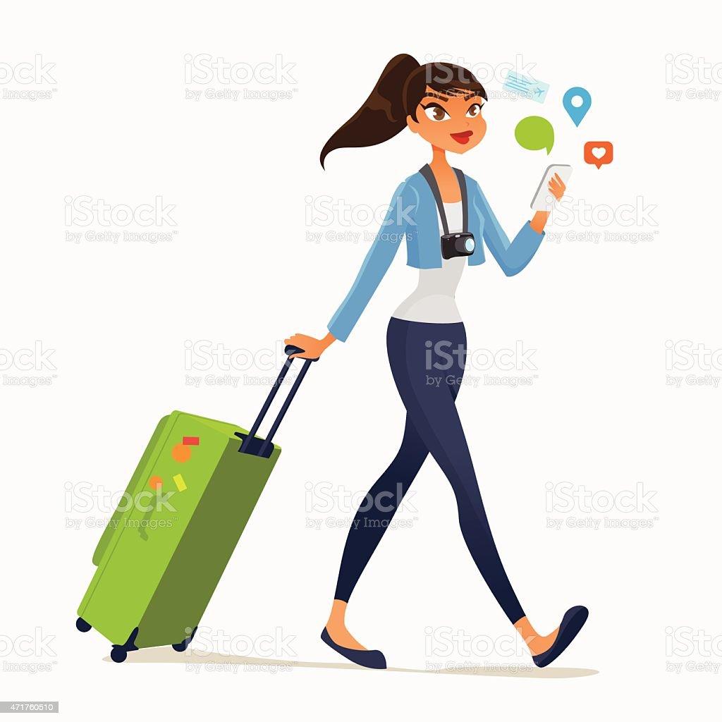 traveling girl vector art illustration