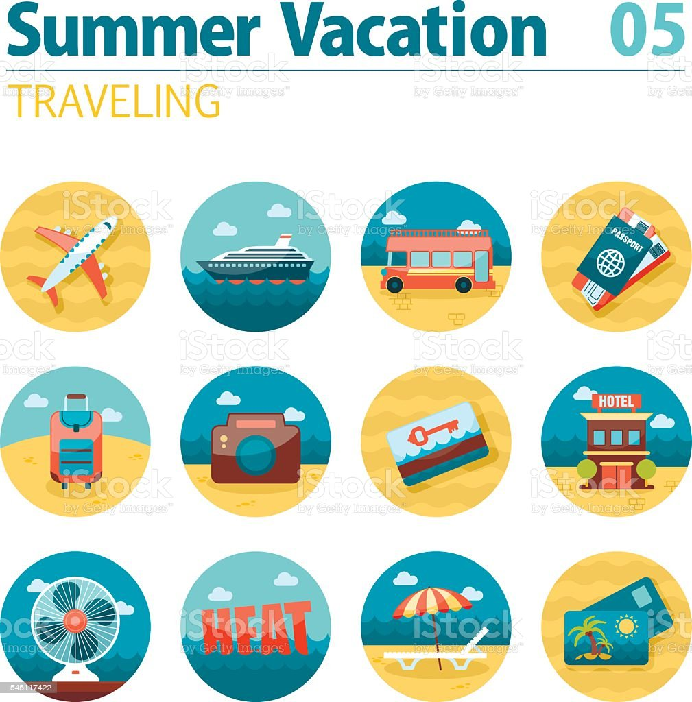 Traveling icon set. Summer. Vacation vector art illustration