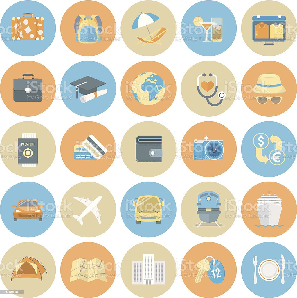Traveling Icons Round Set royalty-free stock vector art