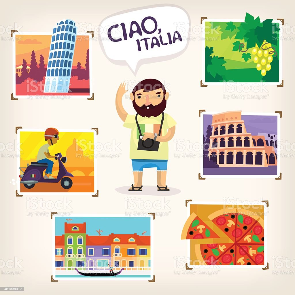 Traveling in Italy vector art illustration