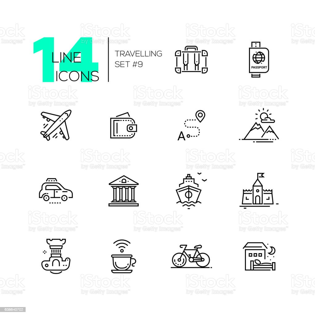Traveling - line icons set vector art illustration