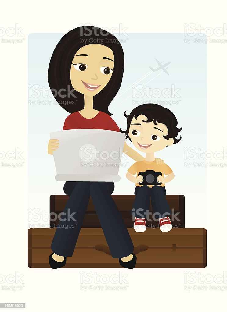 Traveling Mommy Blogger royalty-free stock vector art