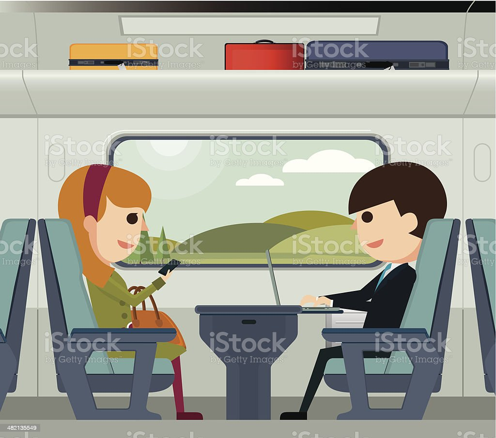 Traveling on a train vector art illustration