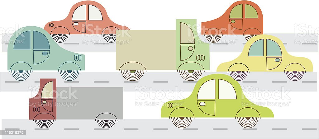 traveling on the highway in a car royalty-free stock vector art