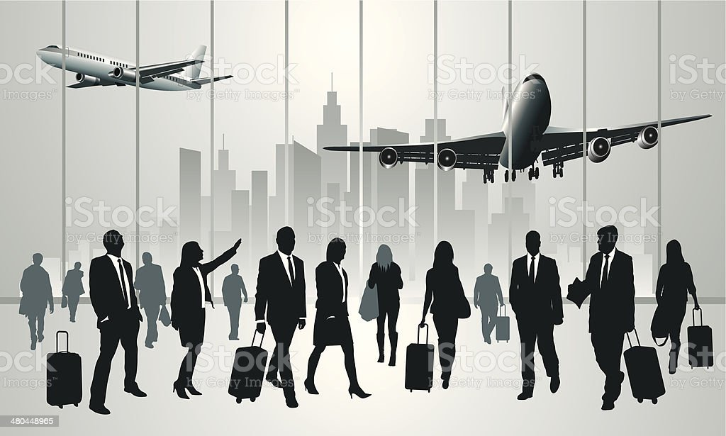 Traveling people vector art illustration