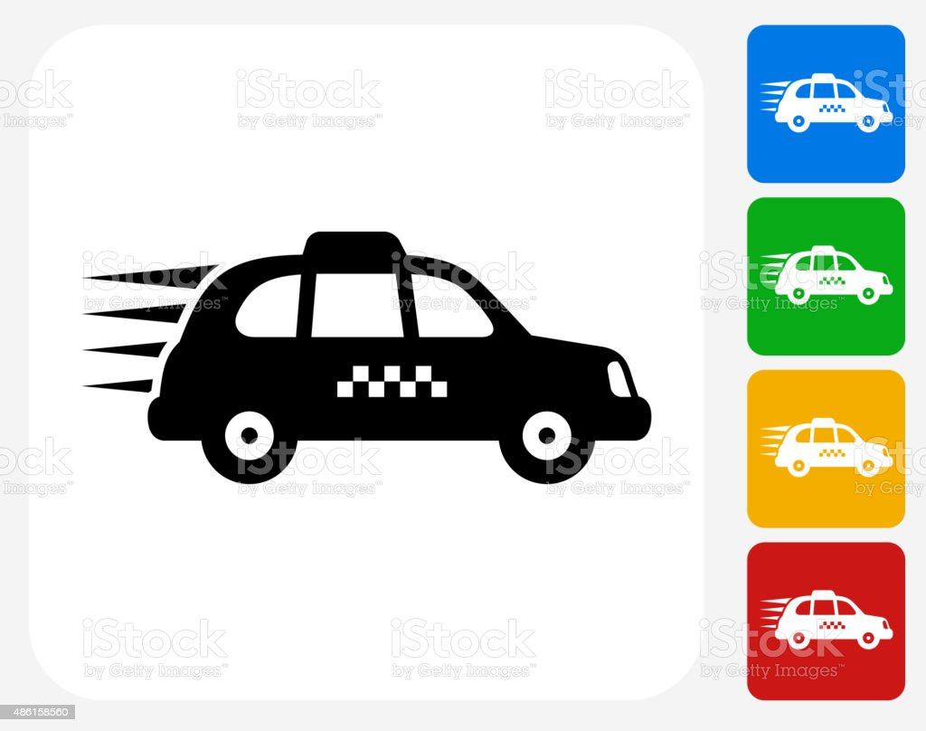 Traveling Taxicab Icon Flat Graphic Design vector art illustration