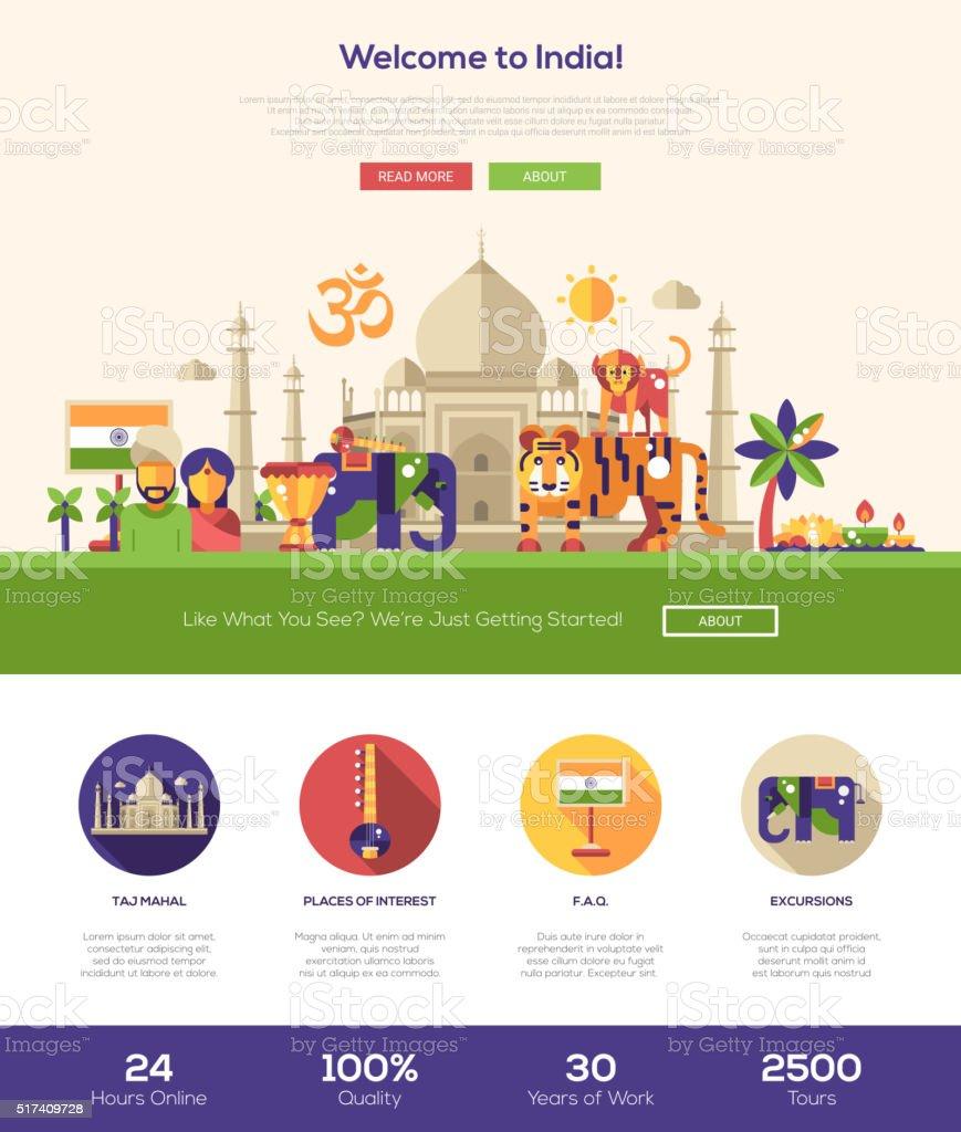 Traveling to India website header banner with webdesign elements vector art illustration