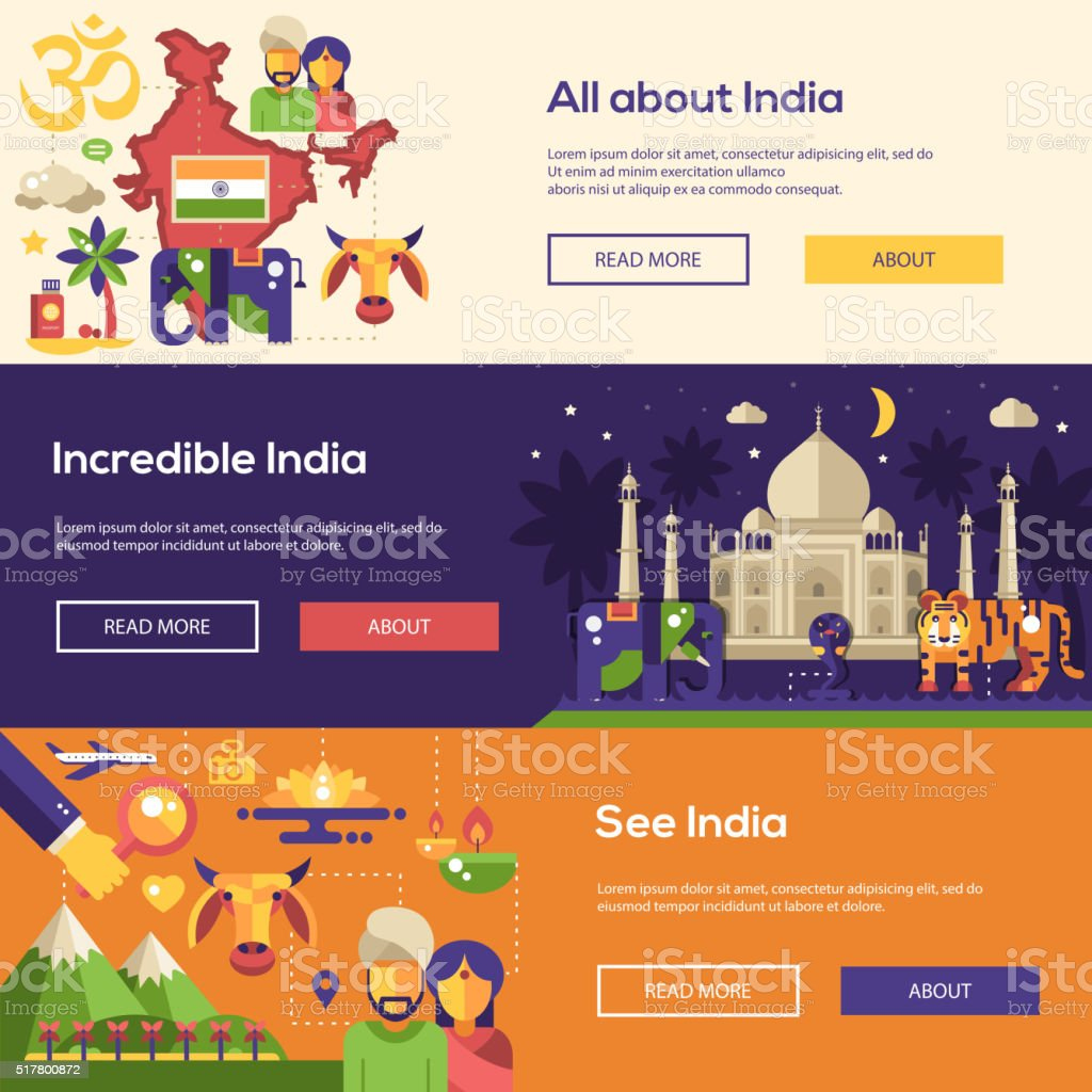 Traveling to India website headers banners set vector art illustration