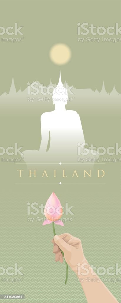 Traveling to Thailand with Buddhist culture vector art illustration