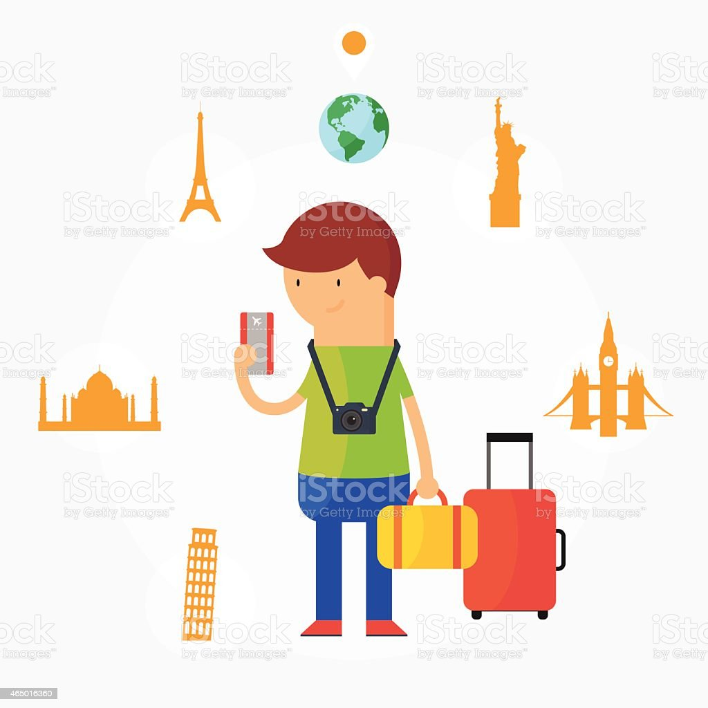 Traveling vector illustration, flat style vector art illustration