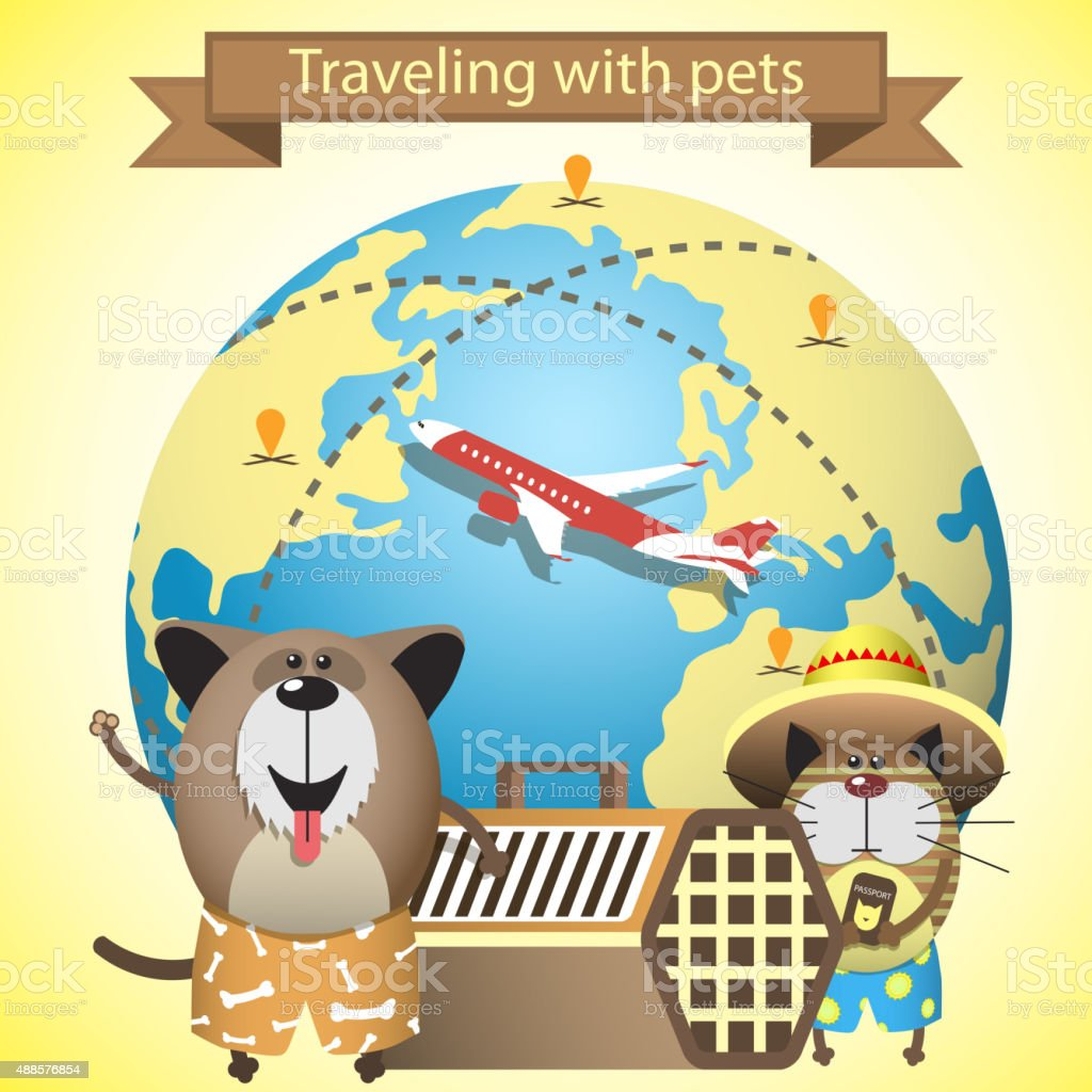Traveling with pets. Illustration with pets, kennel and earth vector art illustration