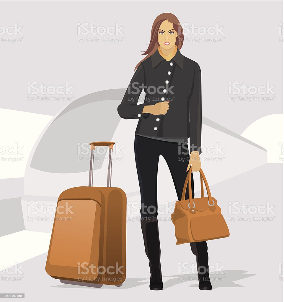Traveling young woman royalty-free stock vector art