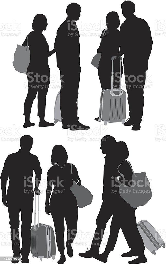 Travellers vector art illustration