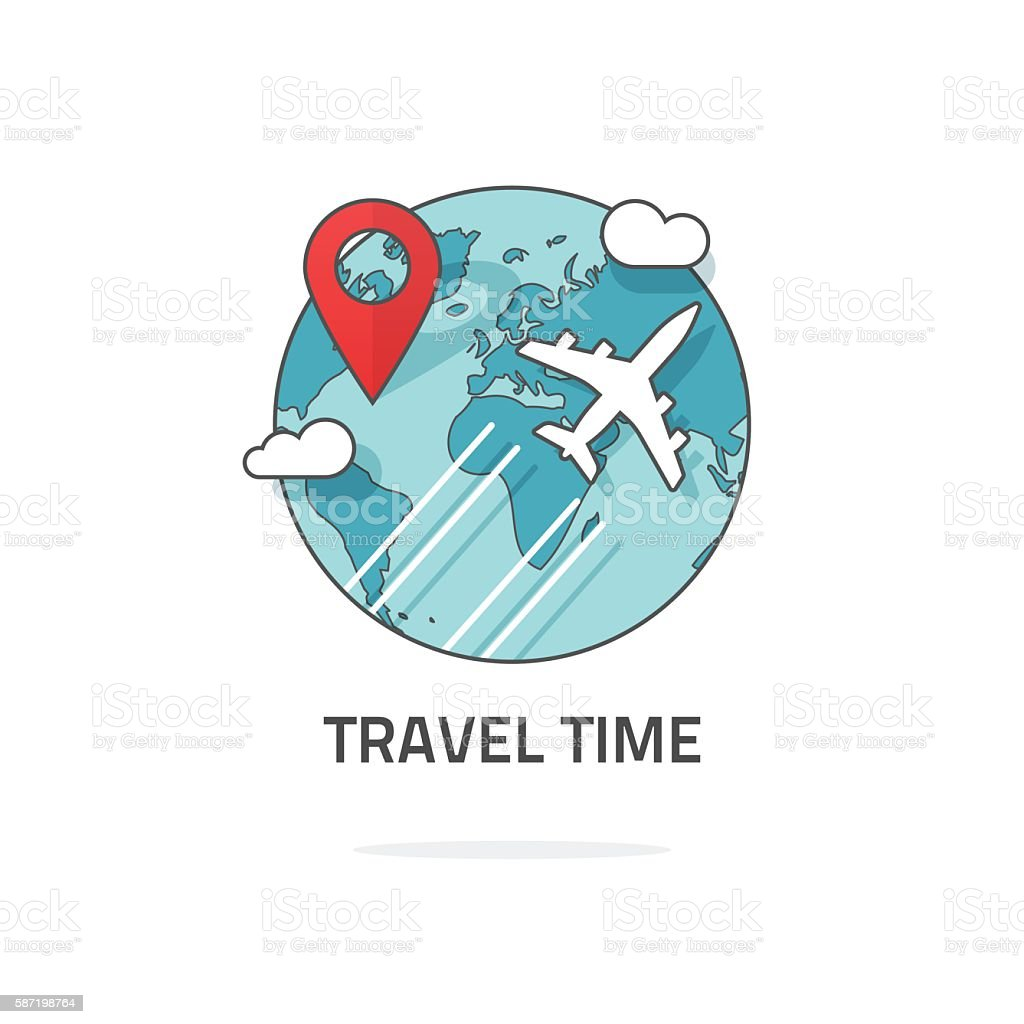 Travelling by plane concept, travel and world trip logo, journey vector art illustration