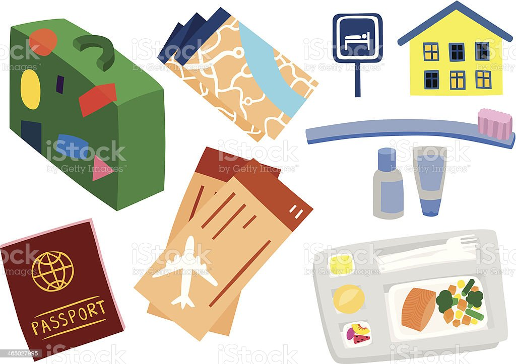 Travelling Objects Set vector art illustration