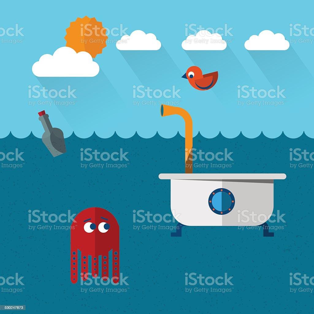 Travelling submarine vector art illustration