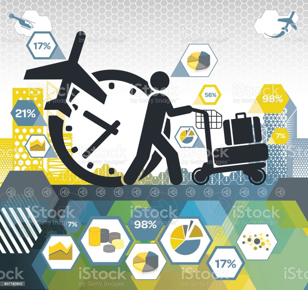 Travelling to reach a Deadline infographic vector art illustration