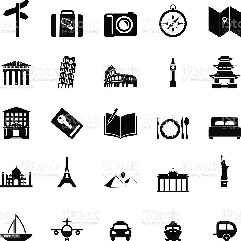 Travels icons set vector art illustration