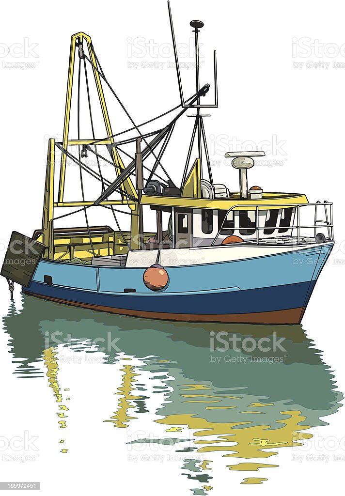 Trawler reflections vector art illustration
