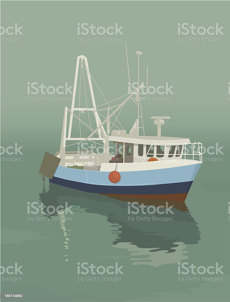 Trawler vector art illustration