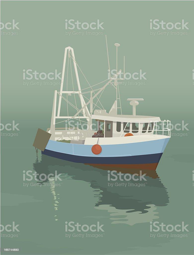 Trawler vector art illustration
