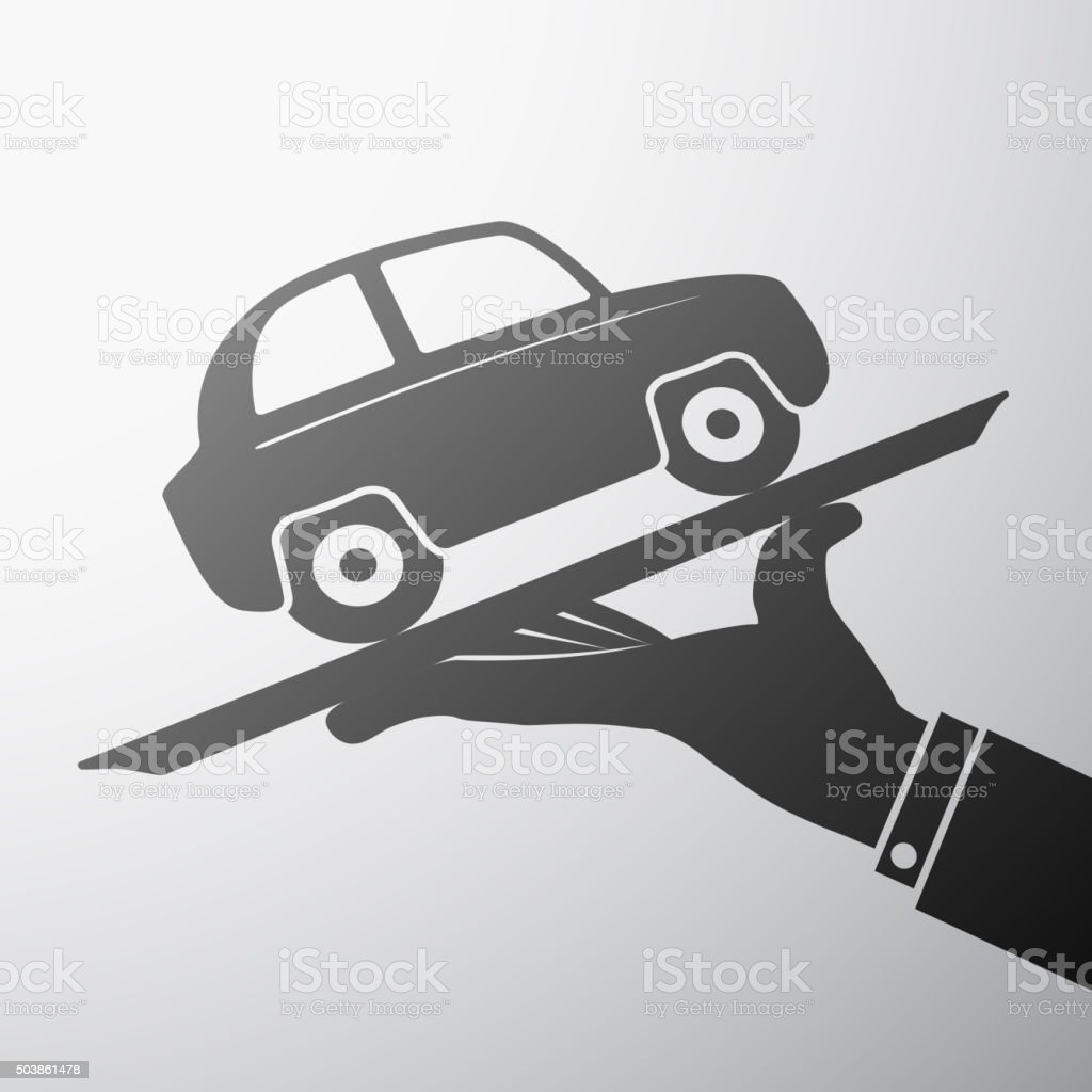 tray with a car vector art illustration