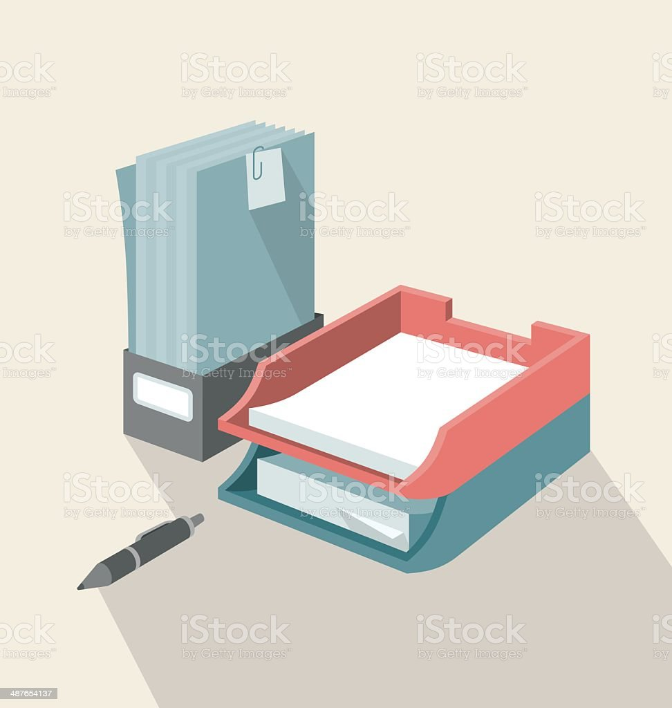 Trays for Papers vector art illustration