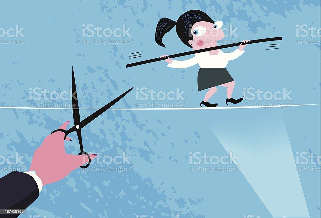 Treachery of woman at work vector art illustration