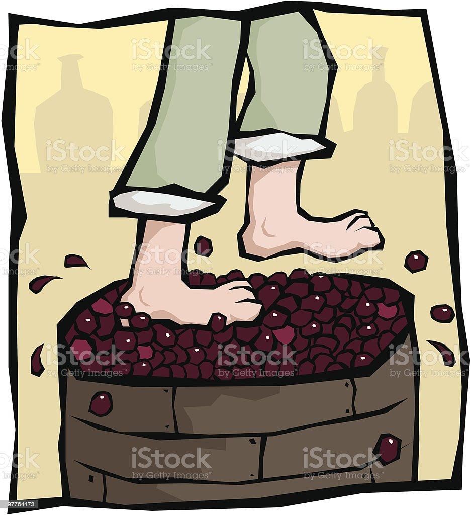 Treading Grapes royalty-free stock vector art