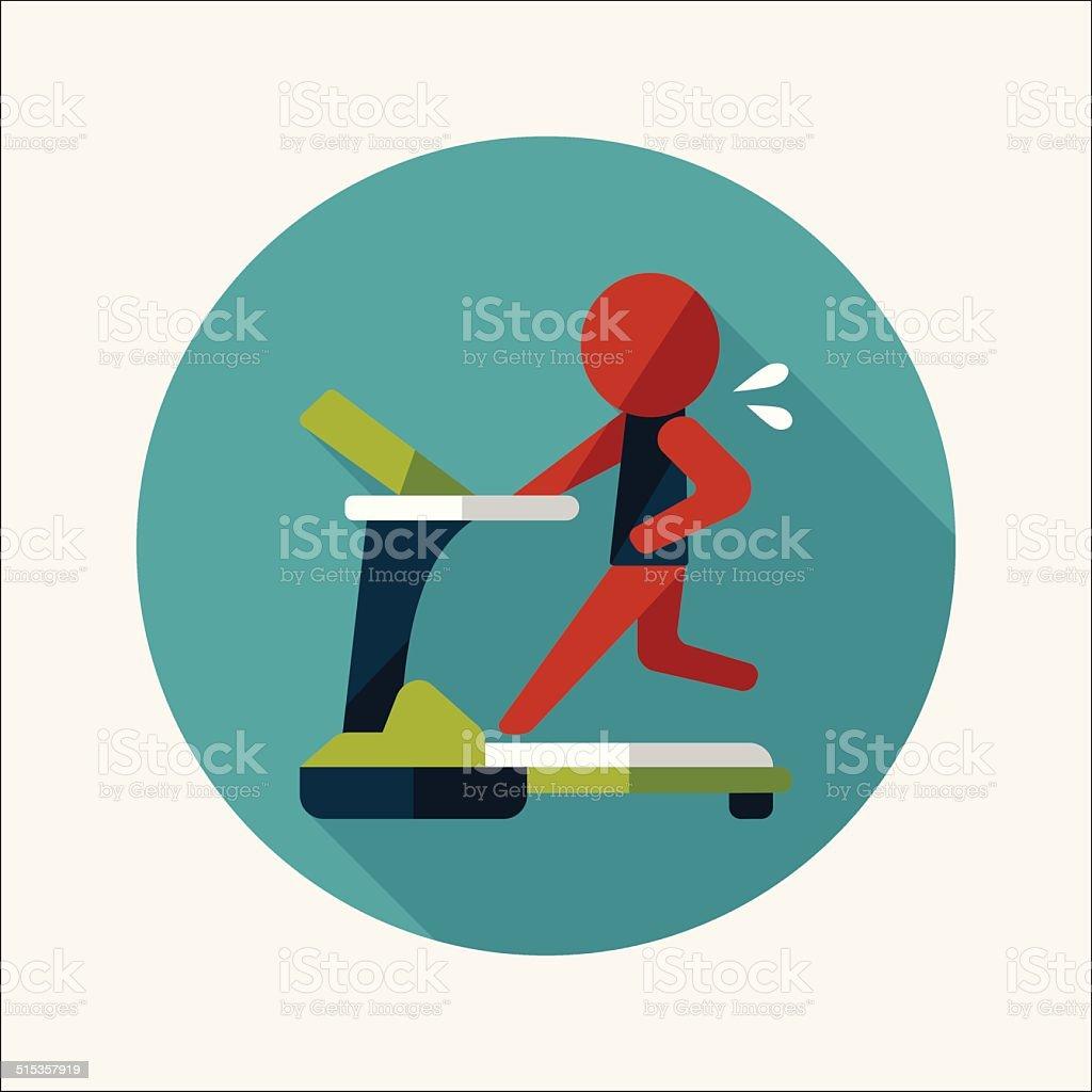 treadmill flat icon with long shadow,eps10 vector art illustration