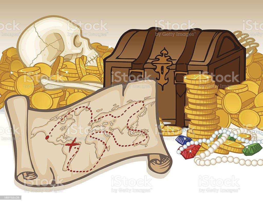 Treasure and Map royalty-free stock vector art