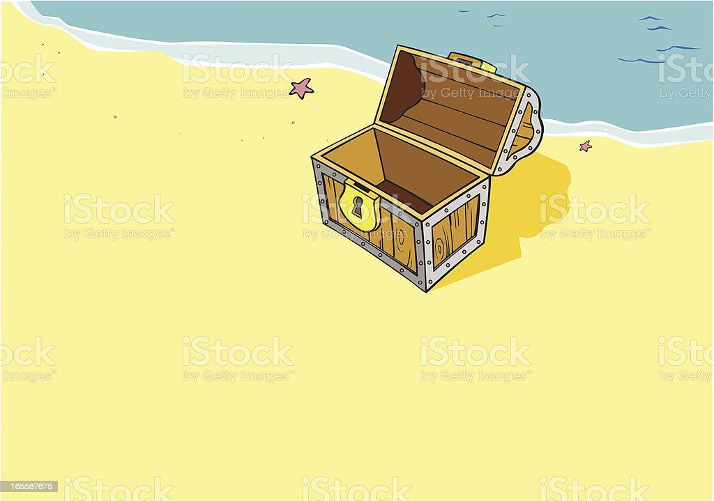 Treasure Chest - Beach, Cartoon royalty-free stock vector art