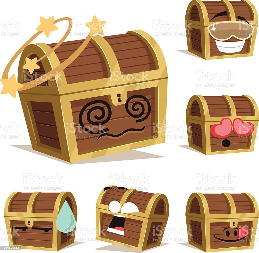 Treasure Chest Cartoon Set A vector art illustration