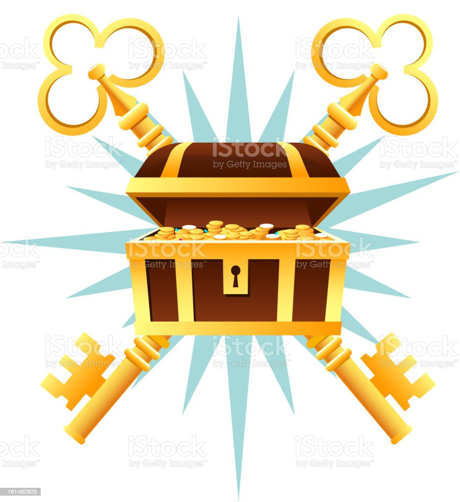 Treasure Chest Coffin With golden coins and keys vector art illustration
