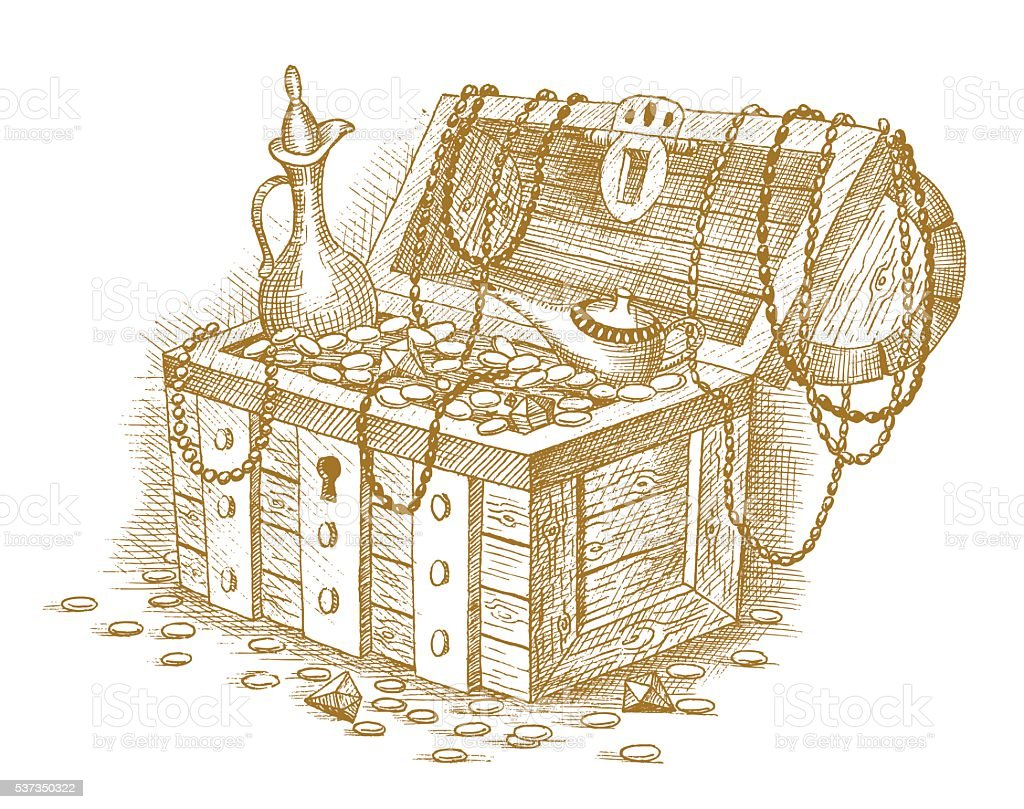 Treasure chest drawn by hand vector art illustration