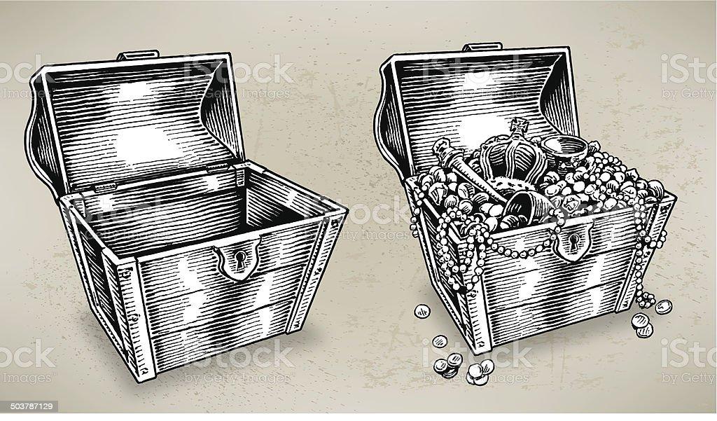 Treasure Chest - Empty and Full vector art illustration