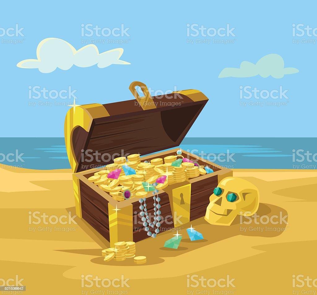 Treasure chest full of gold coins vector art illustration